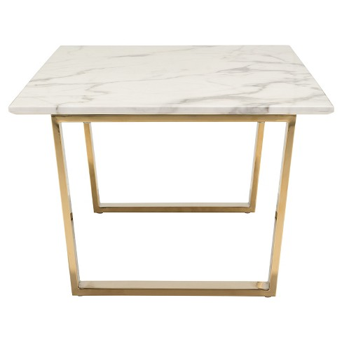 Modern Faux Marble And Stainless Steel 47 Rectangular Coffee Table Stone Gold Zm Home Target