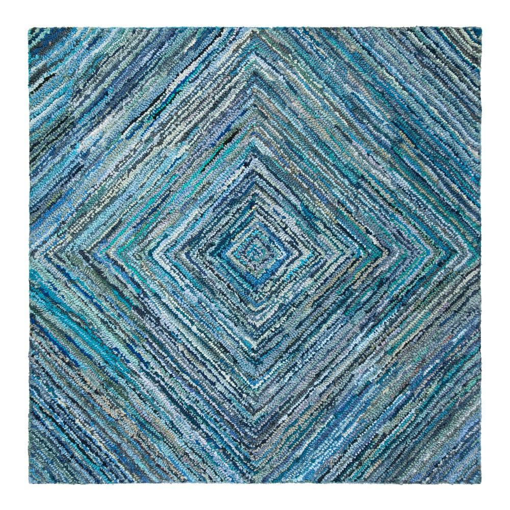 Blue Swirl Tufted Square Area Rug 6'X6' - Safavieh