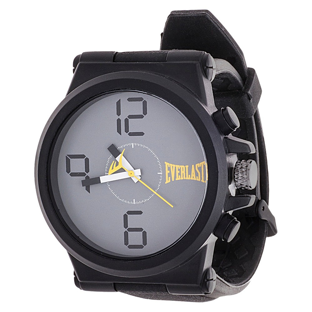 Men's Everlast Rubber Strap Watch with Easy Read Dial - Black