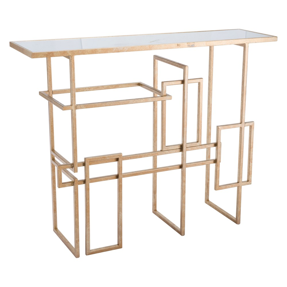 41 Modern Mirror and Steel Rectangular Console Table - Gold - ZM Home