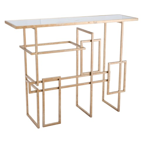 "41"" Modern Mirror and Steel Rectangular Console Table - Gold - ZM Home - image 1 of 2"