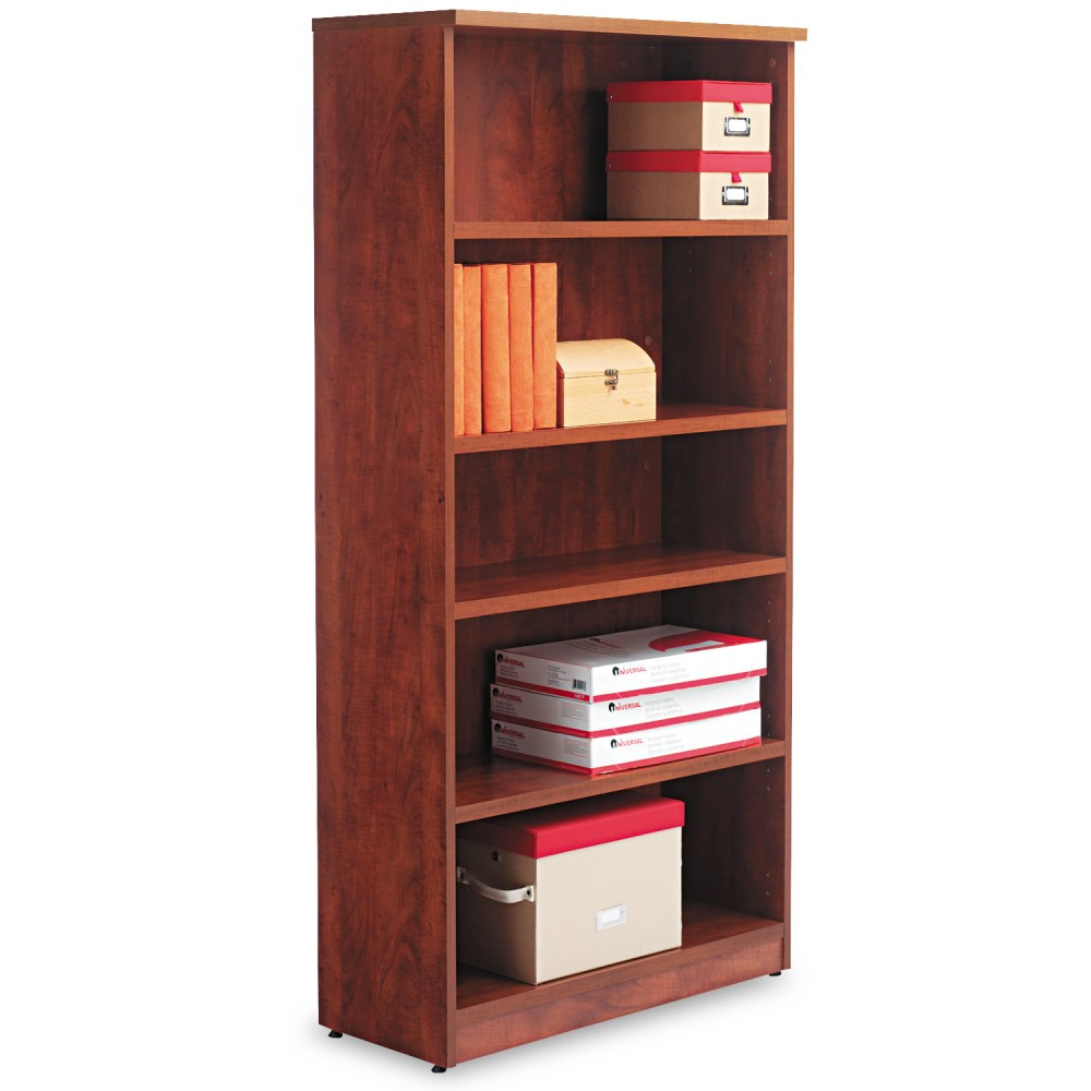 Image of Alera Valencia Series Bookcase, Five-Shelf, 31 3/4w x 14d x 65h, Medium Cherry, Red