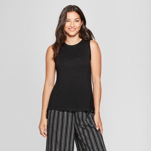 Women's Relaxed Fit Tank - A New Day™ Black S - image 1 of 3