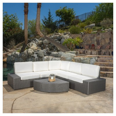 Santa Cruz 6pc Wicker Patio Sofa Set - Gray - Christopher Knight Home