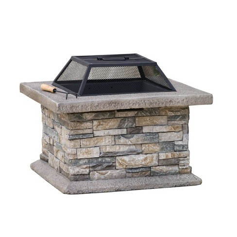 """Crestline 29"""" Concrete Wood Burning Fire Pit - Square - Natural Stone -  Christopher Knight Home - image 1 of 5"""