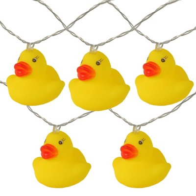 Northlight 10ct Battery Operated Ducky Summer LED String Lights Warm White - 4.5' Clear Wire