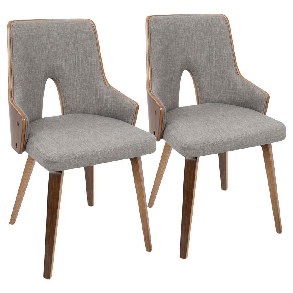 Stella Mid - Century Modern Padded Chair (Set of 2) - Walnut And Light Gray - Lumisource