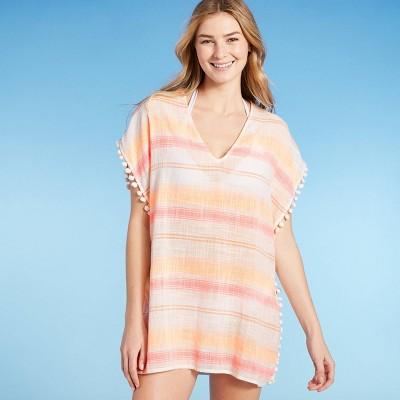 Juniors' Pom Pom Trim Cover Up Dress - Xhilaration™ Fresh White Stripe