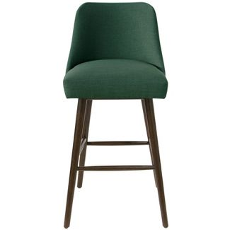 Rounded Back Bar Stool in Linen Conifer Green - Project 62™