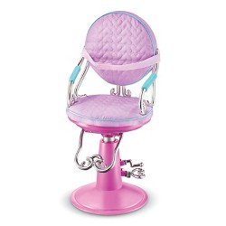 Our Generation Sitting Pretty Doll Salon Chair - Lilac Quilted Hearts