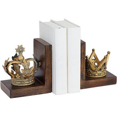 "Kensington Hill Golden Crowns 6"" High King and Queen Antique Bookends Set"