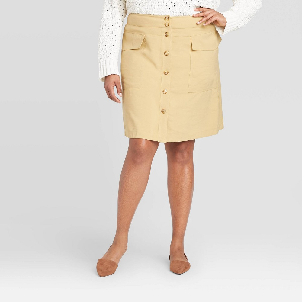 Women's Plus Size Utility Skirt - A New Day Tan 26W, Women's was $27.99 now $19.59 (30.0% off)