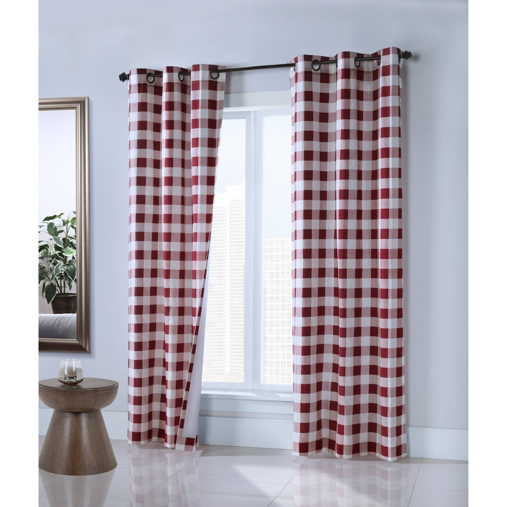 Set Of 2 63 34 X40 34 Harwich Grommet Top Curtain Panels Red Thermalogic