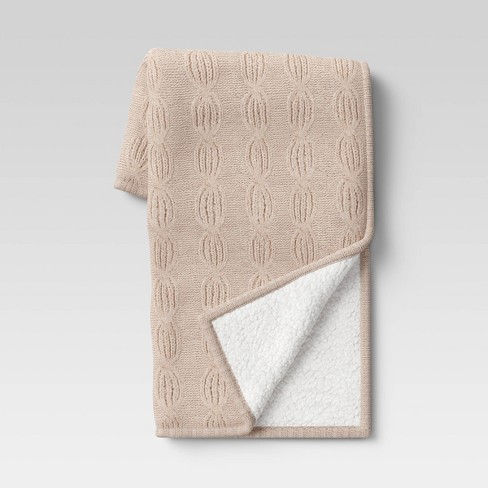 """50""""x60"""" Chenille Cable Knit Throw Blanket with Sherpa Reverse - Threshold™ - image 1 of 4"""