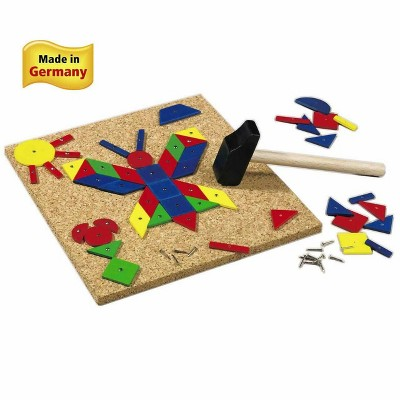 HABA Geo Shape Tack Zap Play Set - Geometric Designs with Hammer & Nails Children's Toy (Made in Germany)
