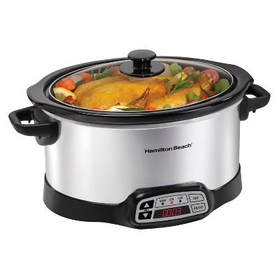 Hamlton Beach Countdown Programmable 6 Qt. Slow Cooker - Stainless - 33660