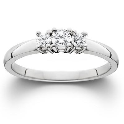 Pompeii3 1/4ct White Gold Three Stone Diamond Engagement Ring