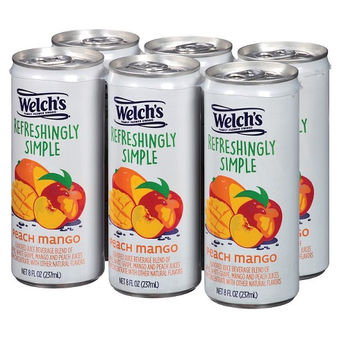 Welch's Refreshingly Simple Juice Cocktail Peach Mango Juice - 6pk/8 fl oz Cans - image 1 of 1