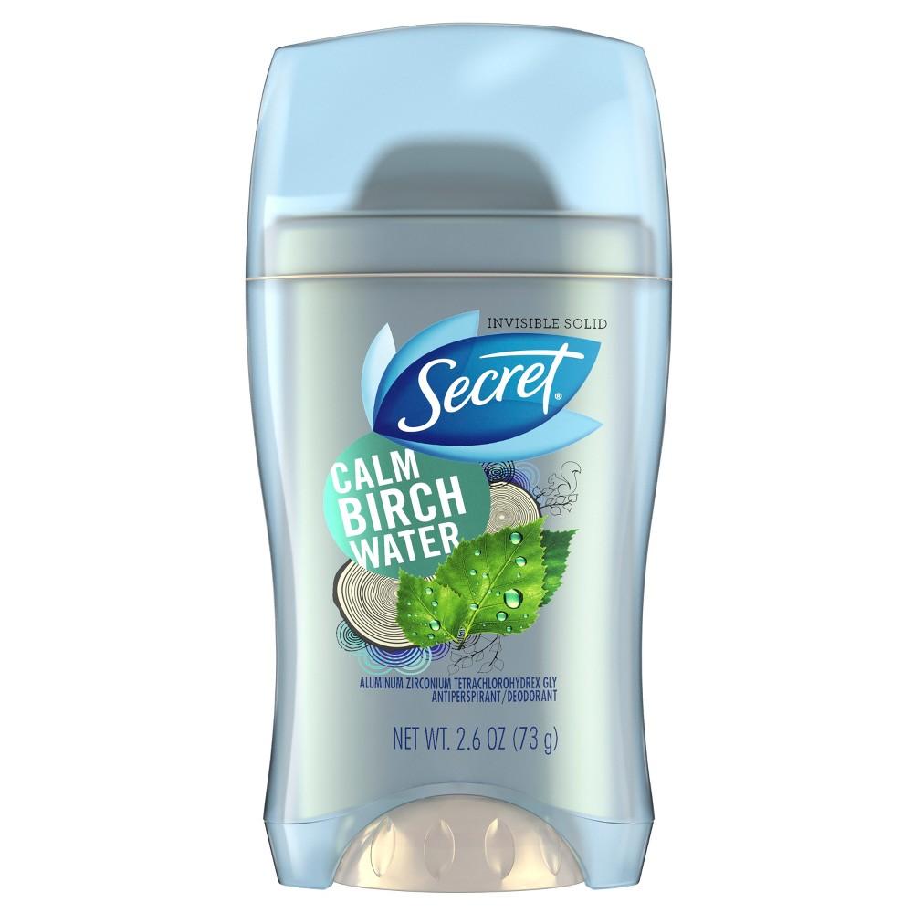 Secret Invisible Solid Antiperspirant and Deodorant Calm Birch Water - 2.6oz, Blue