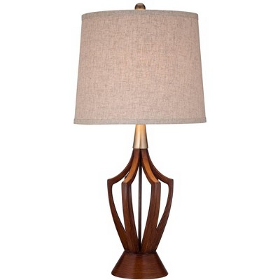 360 Lighting Mid-Century Modern Table Lamp Wood Brass Open Vase Taupe Drum Shade for Living Room Family Bedroom Bedside
