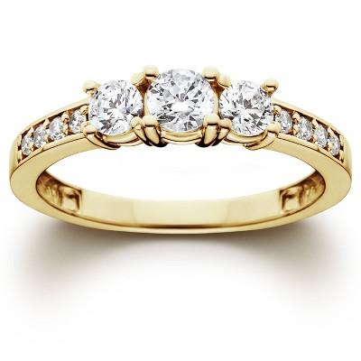 Pompeii3 1 Ct 3-Stone Diamond Engagement Ring 10K Yellow Gold