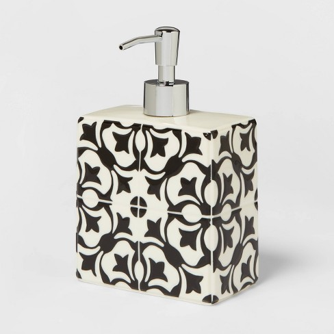 Mallorca Ceramic With Faux Mosaic Look Soap Lotion Dispenser White Opalhouse Target