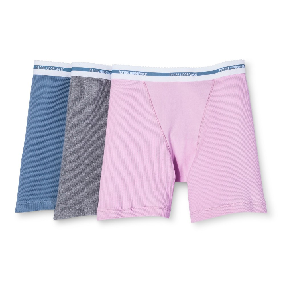 Hanes Premium Women's 3pk Boyfriend Mid Thigh Boxer Briefs - Colors May Vary S, Multicolor Rainbow