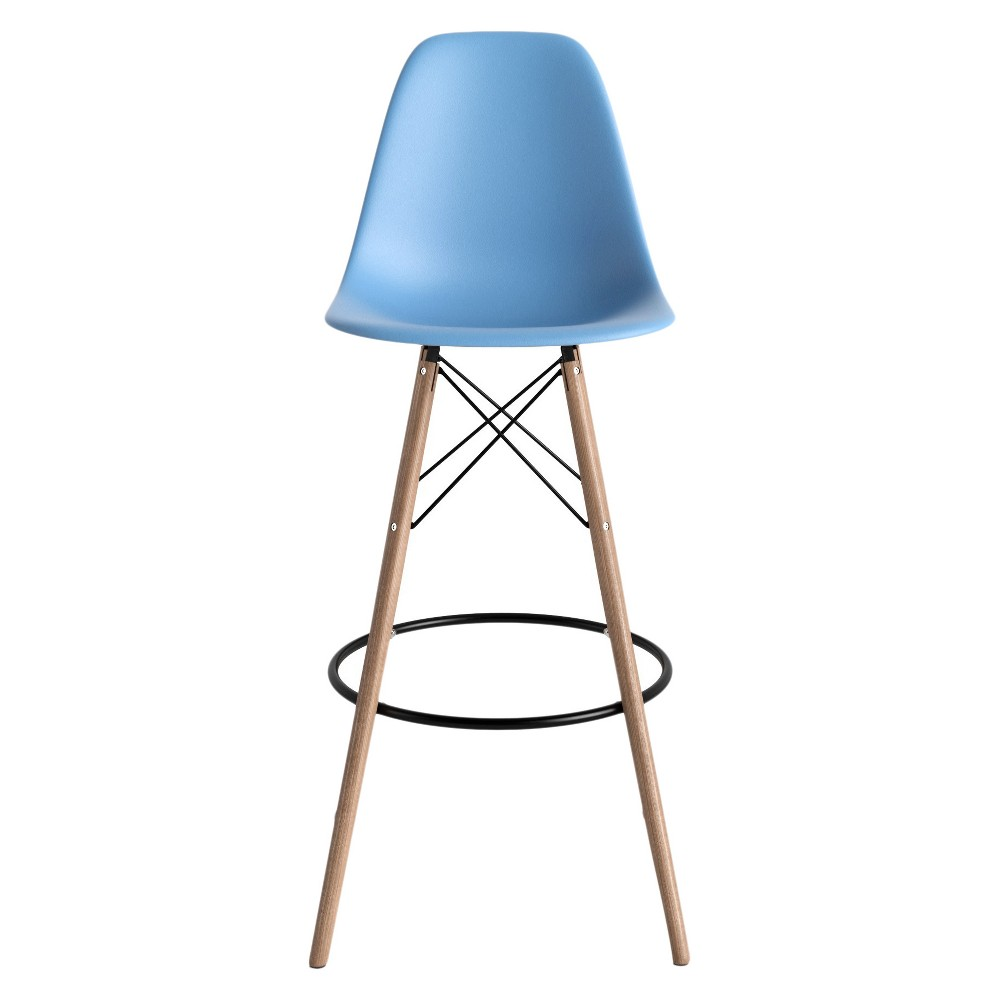 Set Of 2 Paris Mid Century Modern Classic Barstools Blue Aeon