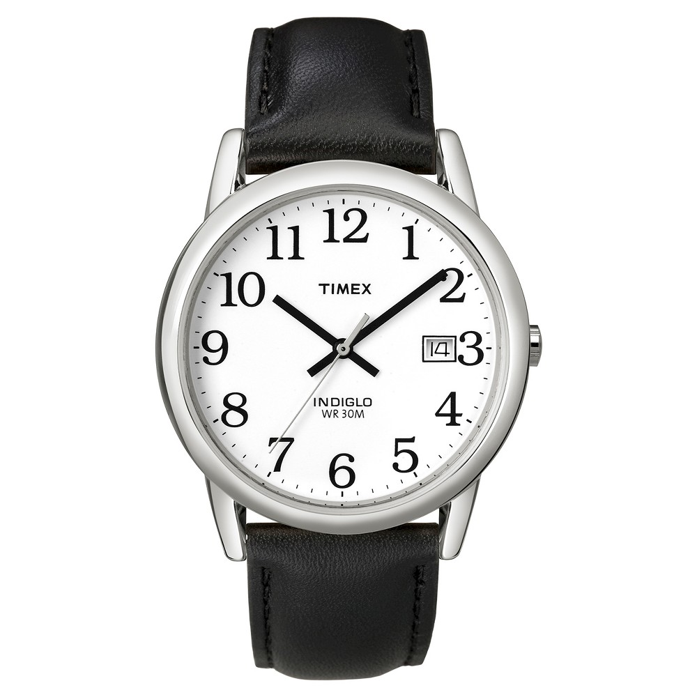 Men 39 S Timex Easy Reader Watch With Leather Strap Silver Black T2h281jt