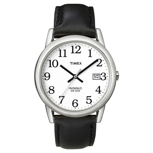 Men's Timex Easy Reader Watch with Leather Strap - Silver/Black T2H281JT - image 1 of 3