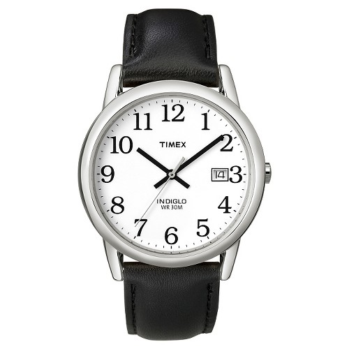 Men's Timex Easy Reader Watch with Leather Strap - Silver/Black T2H281JT, Size: Small