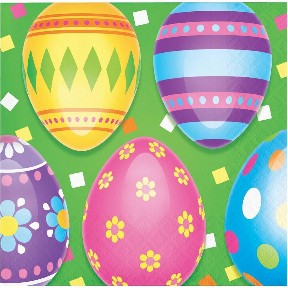 48ct Colorful Easter Eggs Beverage Napkins