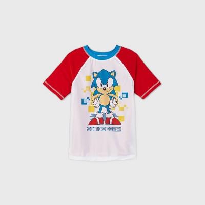 Boys' Sonic the Hedgehog Rash Guard Swim Shirt - White