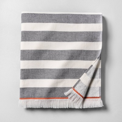 Oversized Beach Towel Stripe Gray / White with Fringe - Hearth & Hand™ with Magnolia