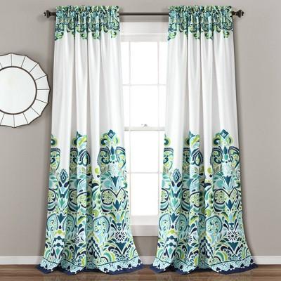 "Set of 2 84""x52"" Clara Room Darkening Window Curtain Panels Blue/Green - Lush Décor"