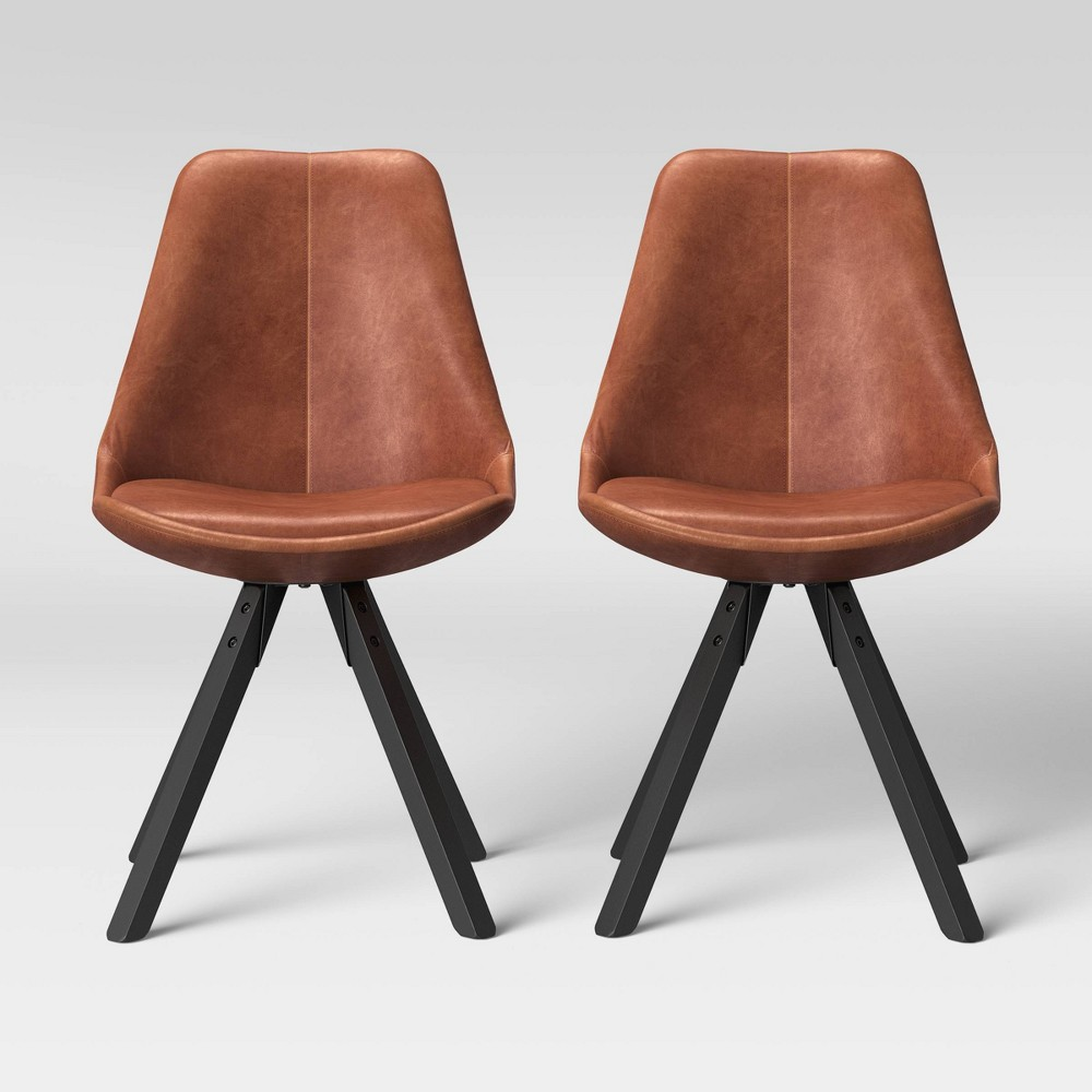 Set of 2 Russel Faux Leather Dining Chair Camel - Project 62