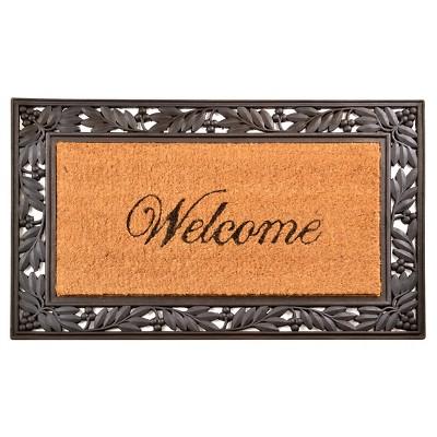 HomeTrax Cocoa Mat Doormat - Cocoa with Welcome (18  x 30 )