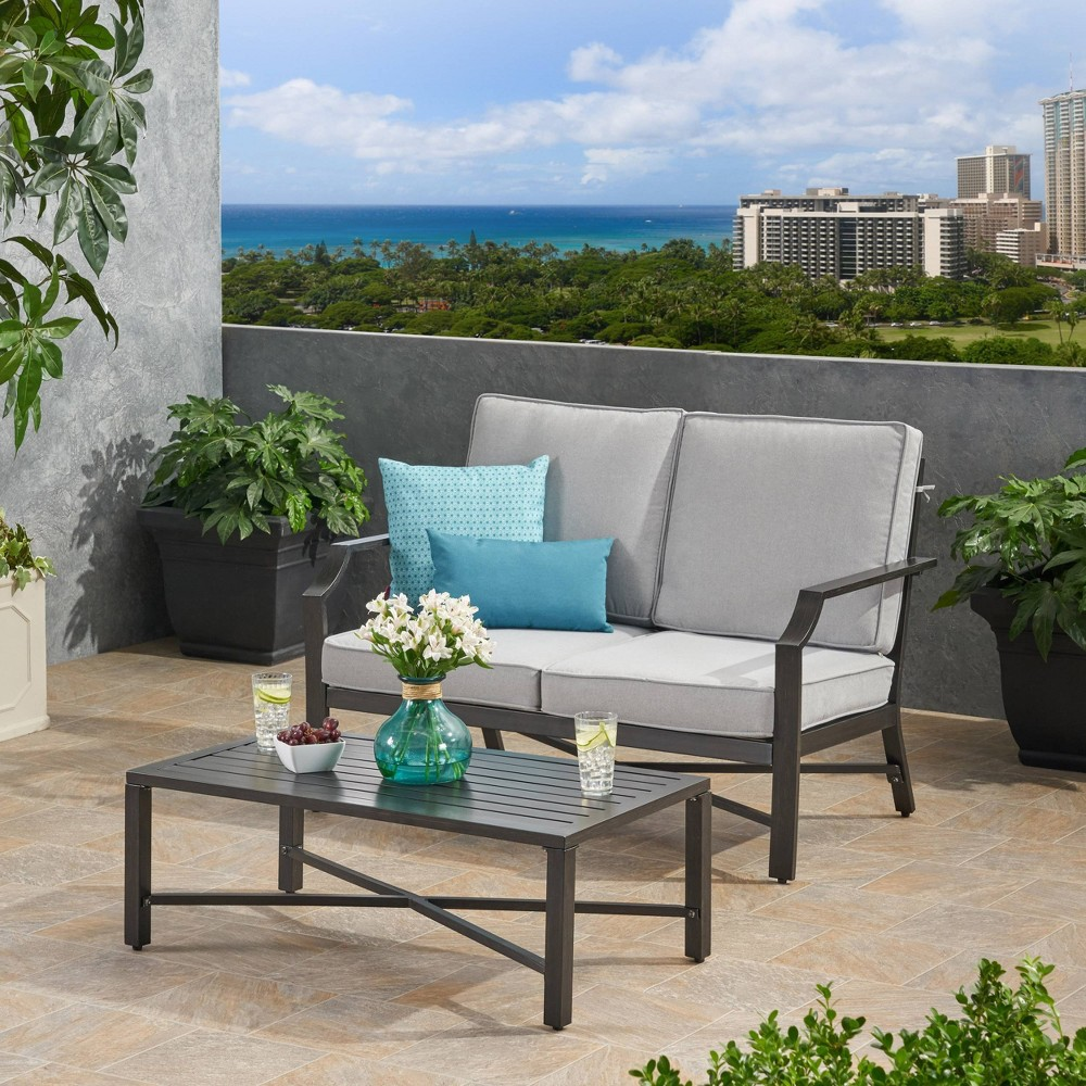 Image of 2pc Hillgate Aluminum Patio Loveseat and Coffee Table Set Gray - Christopher Knight Home
