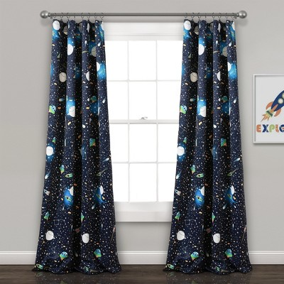 "52""x84"" Universe Room Darkening Window Curtain Panels Navy - Lush Décor"