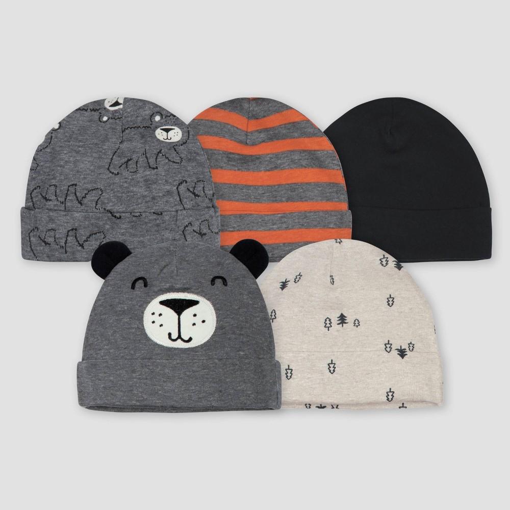 Image of Gerber Baby Boys' 5pk Bear Caps - Gray/Light Brown 0-6M, Boy's, Size: Small