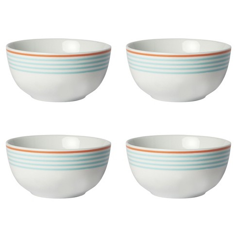 Porter Bowl 20oz Light Blue Stripe with Coral Rim 4-pack - Cheeky® - image 1 of 1