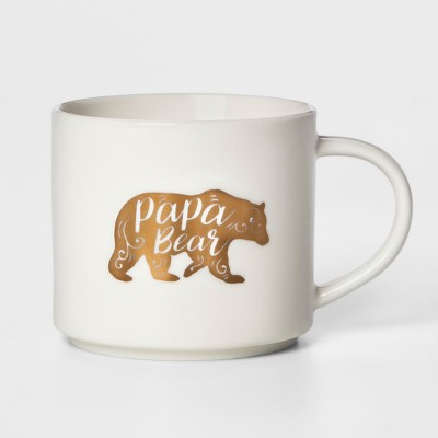 16oz Stoneware Papa Bear Mug White - Threshold™