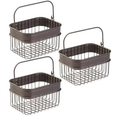 mDesign Bathroom Storage Basket Bin with Handle, Small, 3 Pack - Bronze