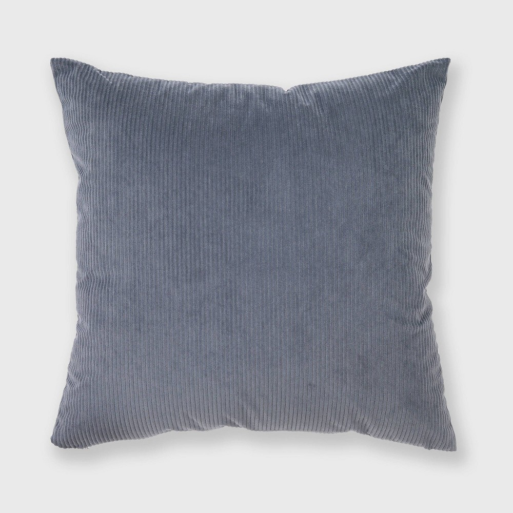 "Image of ""18""""x18"""" Solid Ribbed Textured Throw Pillow Dusty Blue - Freshmint"""