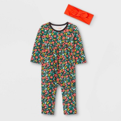 Baby Girls' Jersey Floral Romper with Headband - Cat & Jack™ Black 3-6M