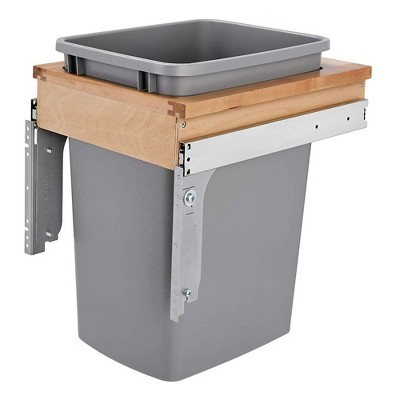 Rev-A-Shelf 4WCTM-1516DM-1 35-Quart Top Mount Pullout Kitchen Waste Trash Container Bin for 12 Inch Wide 1.5 Inch Faceframe Cabinet, Silver