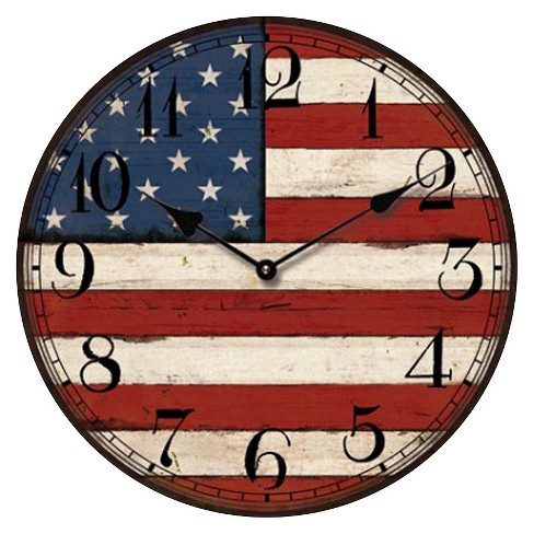 Usa Flag Round Wall Clock Creative Motion Industries