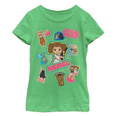Girl's Star Wars Cute Sticker Cartoons T-Shirt