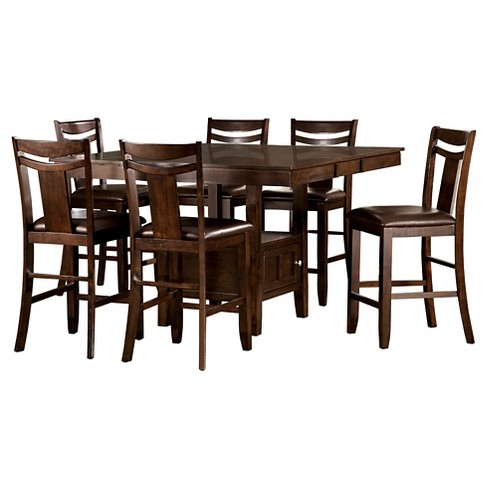 7pc Dewey Counter Height Dining Set - Brown - Inspire Q - image 1 of 6