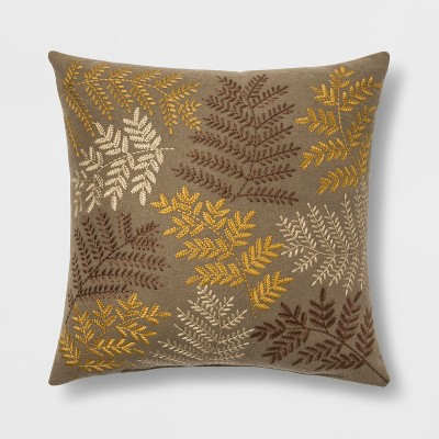 Embroidered Leaves Square Throw Pillow Neutral - Threshold™